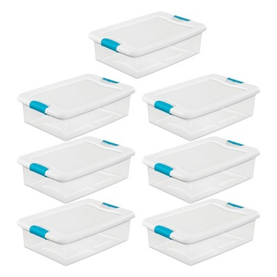 Sterilite 32-Qt. Clear & Blue Stackable Latching Storage Box Container (7 Pack)