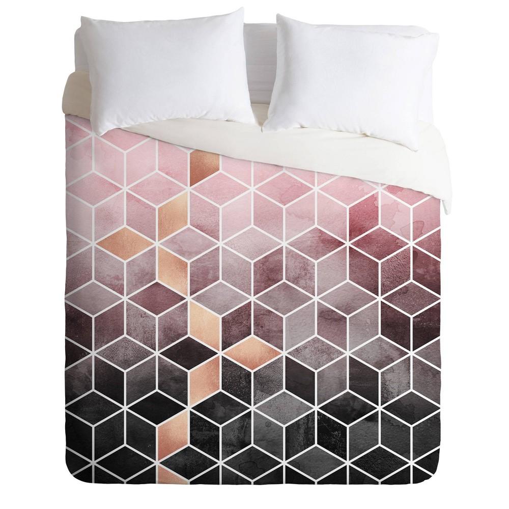 King Elisabeth Fredriksson Gradient Geometric Cubes Duvet Set Pink Deny Designs