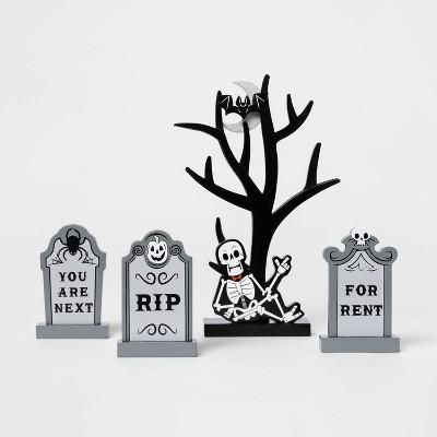 Mini Mantel Wood Tree with Gravestones Halloween Decorative Prop - Hyde & EEK! Boutique™