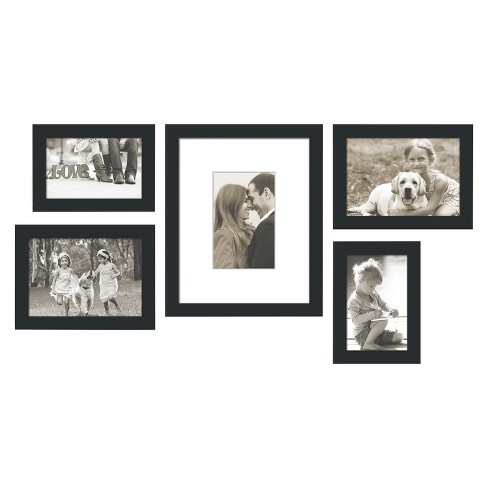 "5 Piece Weathered Frame Set Black 5""X7"" - Threshold™ - image 1 of 1"