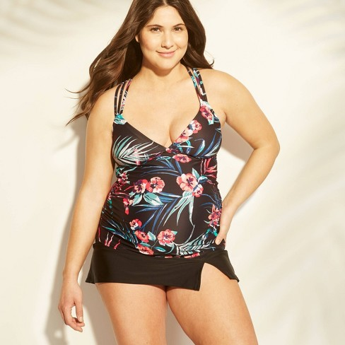 Maternity Floral Print Tropical Knot Back Tankini Top - Isabel Maternity by Ingrid & Isabel™ Black - image 1 of 3