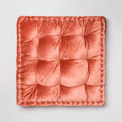 Velvet Oversized Square Floor Pillow Coral - Opalhouse™
