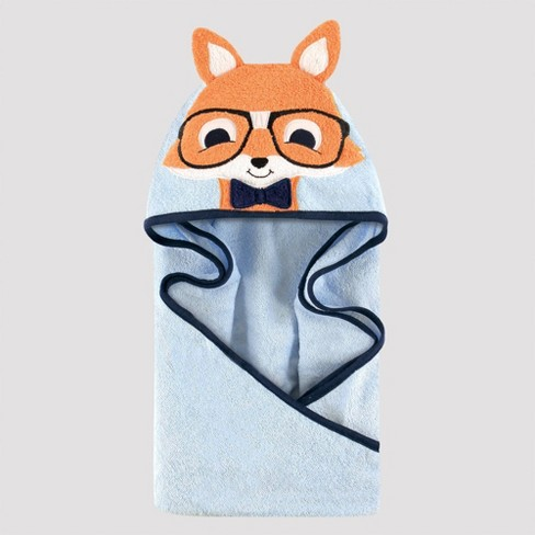 Hudson Baby Nerdy Fox Hooded Towel - Blue/Orange 33x33'' - image 1 of 1