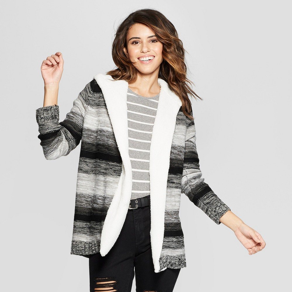 Women's Striped Long Sleeve Sherpa Cozy Hooded Cardigan - Almost Famous (Juniors') Black S