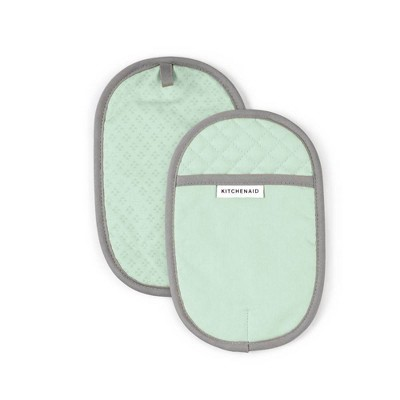 KitchenAid 2pk Cotton Asteroid Pot Holders Light Green