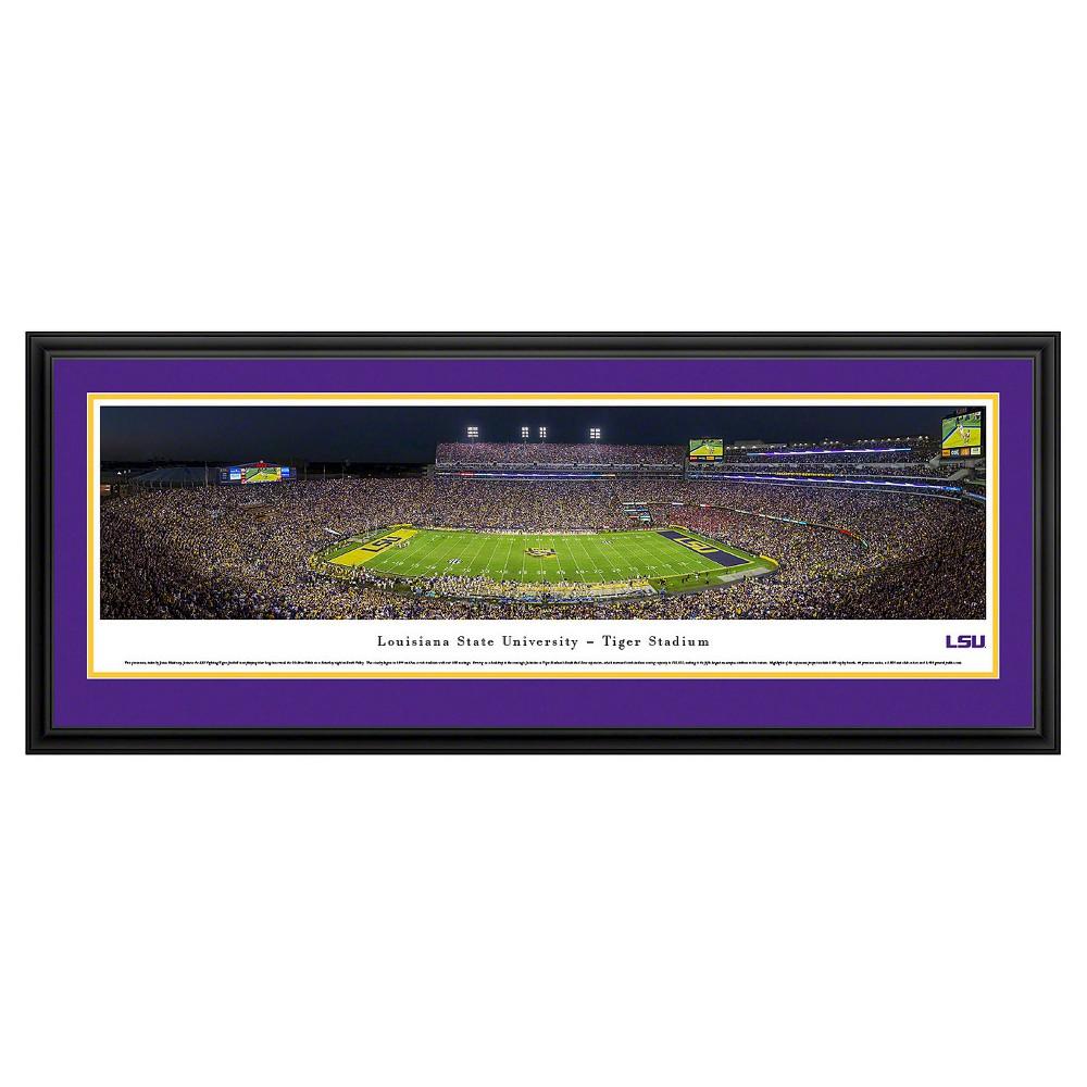 Ncaalsu Tigers BlakewayFootball Stadium View Framed Wall Art, Purple/Gold