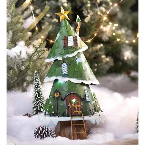 Christmas Hearth.Medium Miniature Lighted Christmas Tree House Plow Hearth