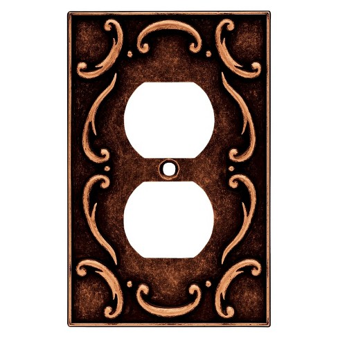Brainerd French Lace Single Duplex Wall Plate - Sponged Copper - image 1 of 1
