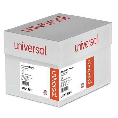 Universal® Green Bar Computer Paper, 18lb, 14-7/8 x 11, Perforated Margins, 2600 Sheets (15851) - image 1 of 1
