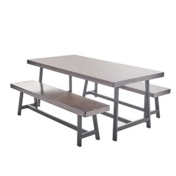 Marion 3pc Foldable Dining Set - Grey - Christopher Knight Home