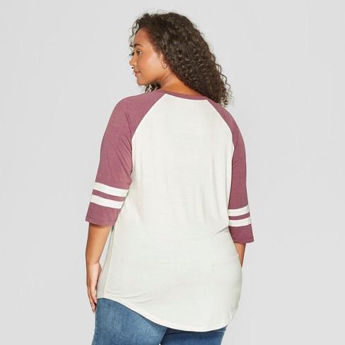 f6577bb3aa3 Women s Stranger Things 3 4 Sleeve Plus Size Upside Down Raglan Graphic T- Shirt (Juniors ) Burgundy 3X   Target