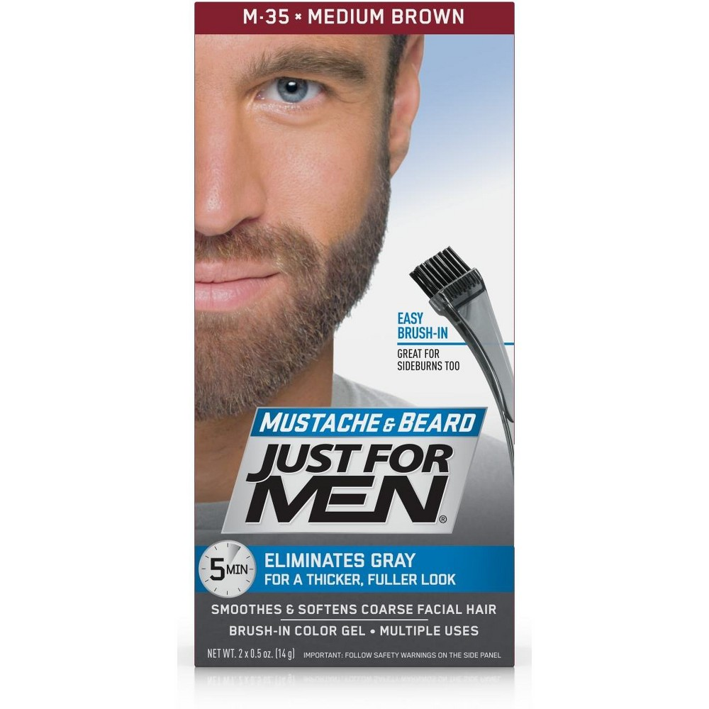 Image of Just For Men Mustache and Beard Men's Hair Color, Medium Brown M-35