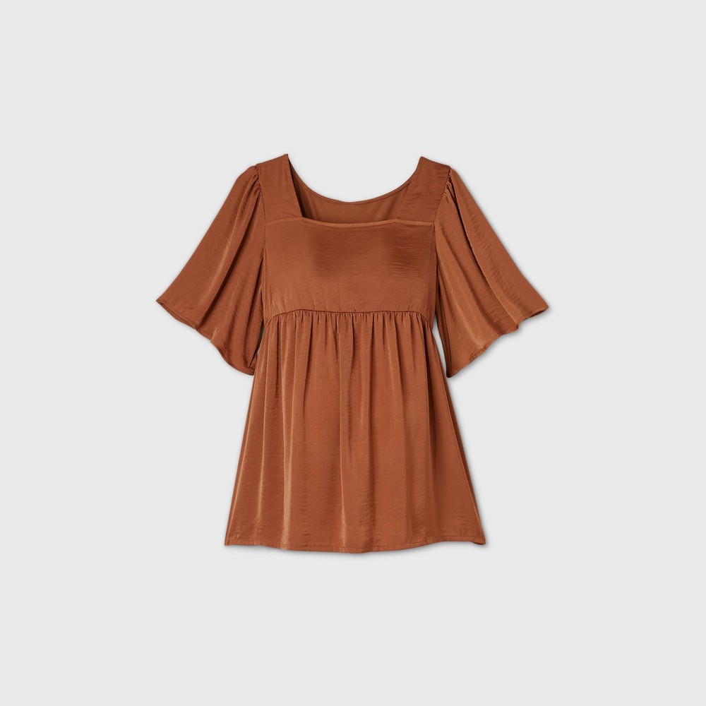 Maternity Short Sleeve Satin Front Blouse Isabel Maternity By Ingrid 38 Isabel 8482 Brown Xxl