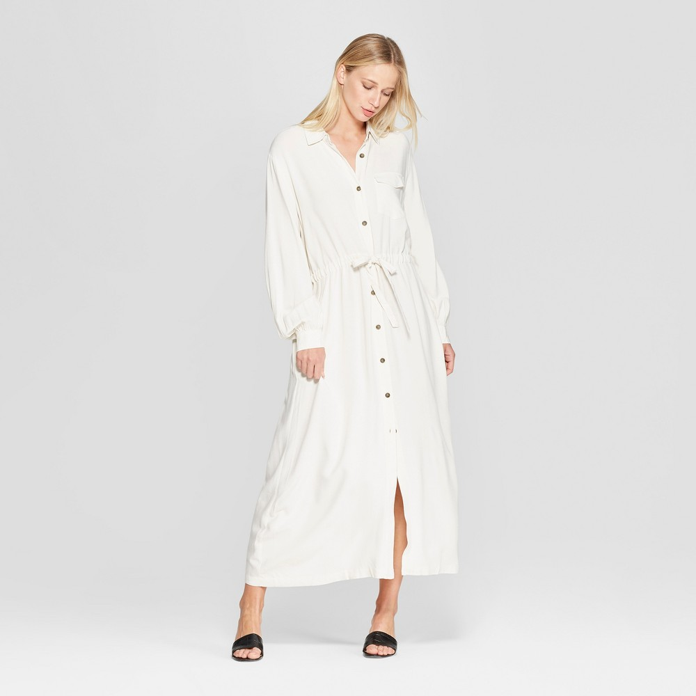 Women's Long Sleeve Button-Up Drawstring Jacket - Who What Wear White L, Brown