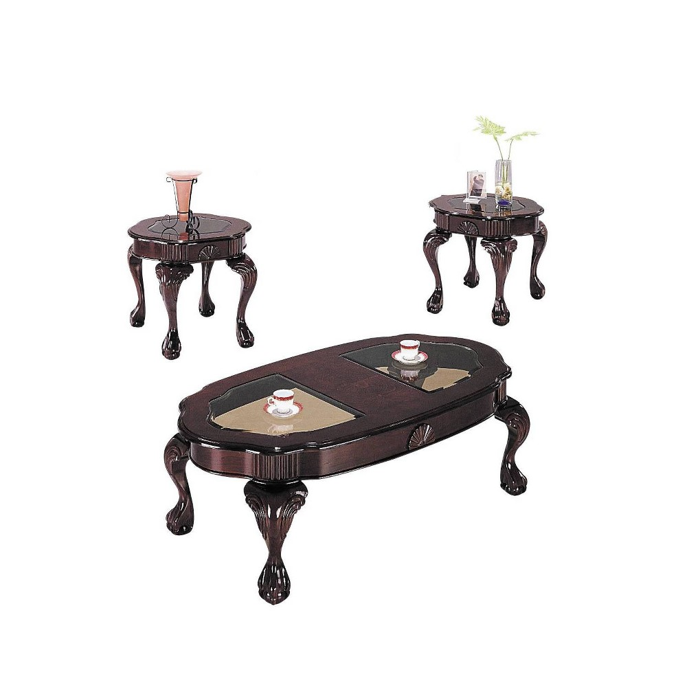 Image of 3pc Canebury Coffee and End Table Set Smoky Glass Cherry - Acme, Red