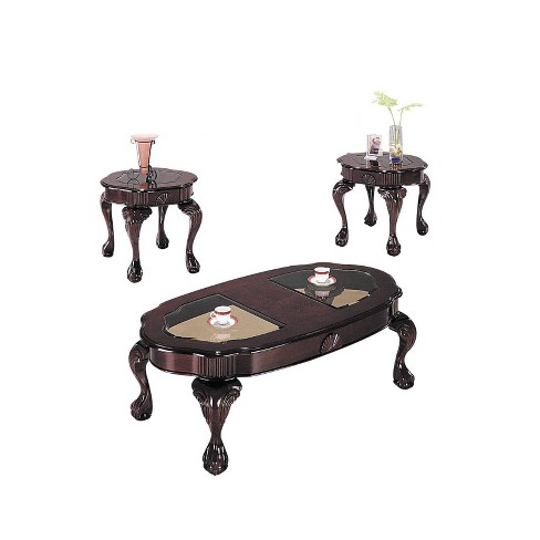 3pc Canebury Coffee and End Table Set Smoky Glass Cherry - Acme - image 1 of 1