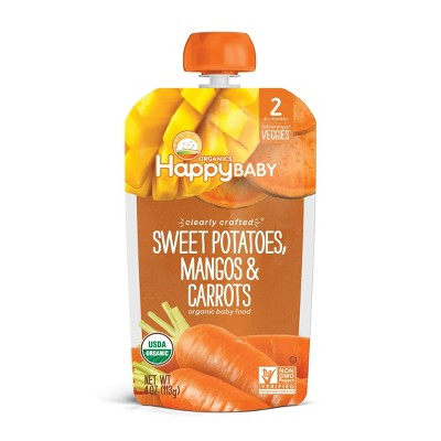 HappyBaby Clearly Crafted Sweet Potatoes Mangos & Carrots Baby Food - 4oz