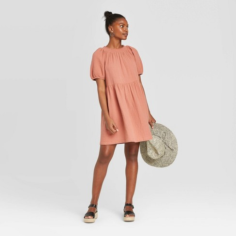Women's Short Sleeve Crewneck Smocked Gauze Shift Dress - Universal Thread™ - image 1 of 3