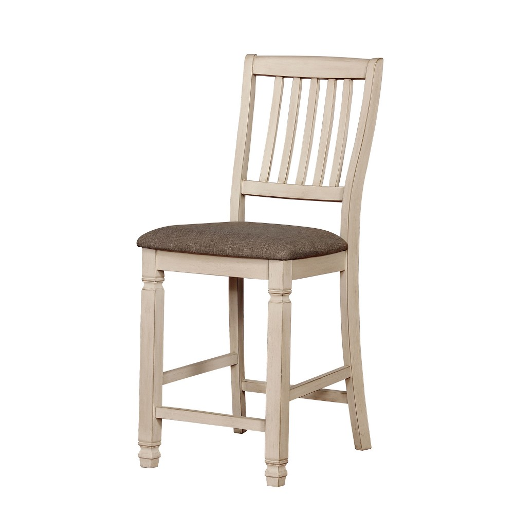 Dean Cushioned Wood Counter Height Dining Chair Set of 2 Antique White - Homes: Inside + Out