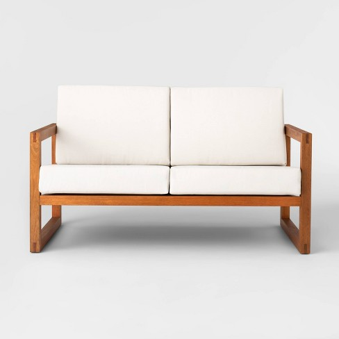 Kaufmann Wood Patio Loveseat - Linen - Project 62™ - image 1 of 4