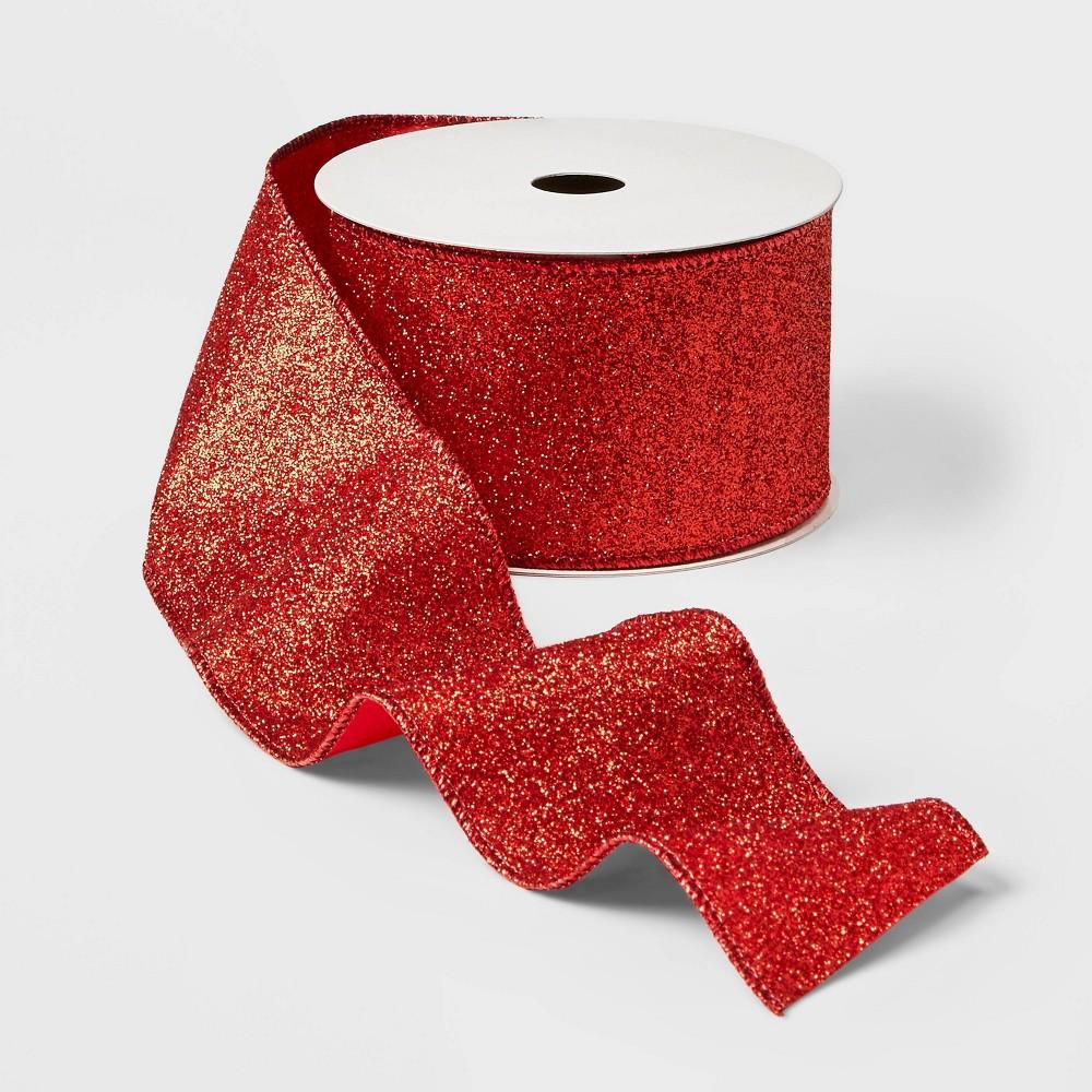 "Image of ""2.5"""" Glitter Ribbon Red 21ft - Wondershop"""