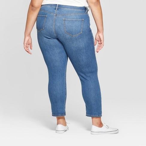 7246ec363f1ce Women's Plus Size Destructed Boyfriend Jeans - Ava & Viv™ Light Wash ...
