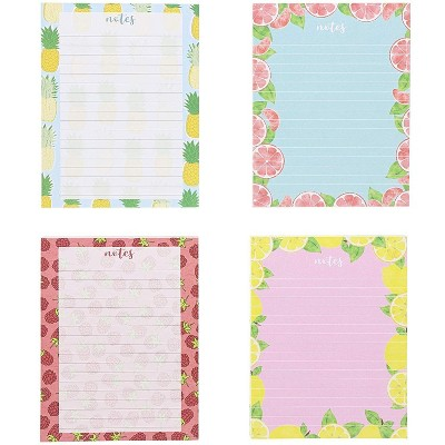 4 Pack Fruit Prints Design Notepads Notebooks Memo Pad Books Lined Paper for Kids Party Favors, 4.25 x 5.5 inches