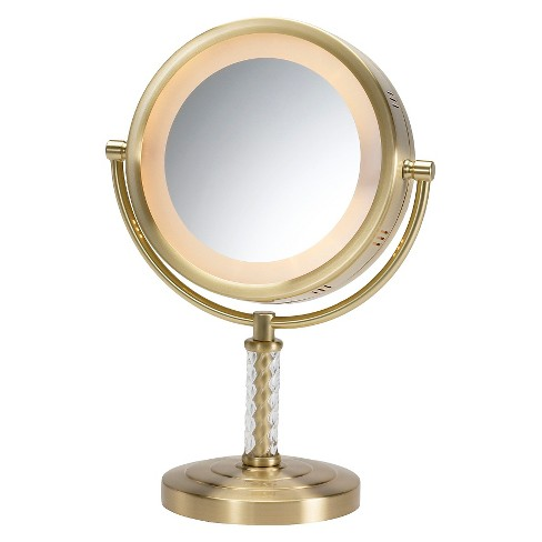 Jerdon 6x 1x Lighted Table Top Mirror Brushed Brass Target