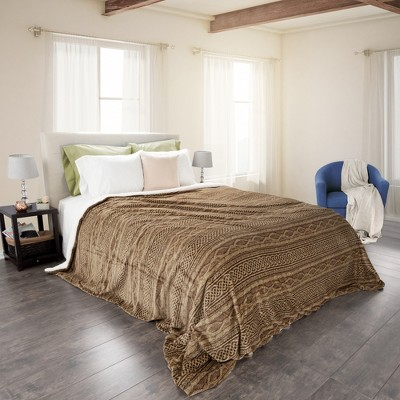 Flannel & Sherpa Blanket - (King)Chocolate & Taupe - Yorkshire Home®