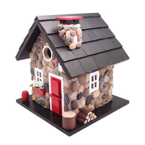 Home Bazaar CC-2024 Windy Ridge Decorative Stone Cottage Bird House, Red & Black - image 1 of 2