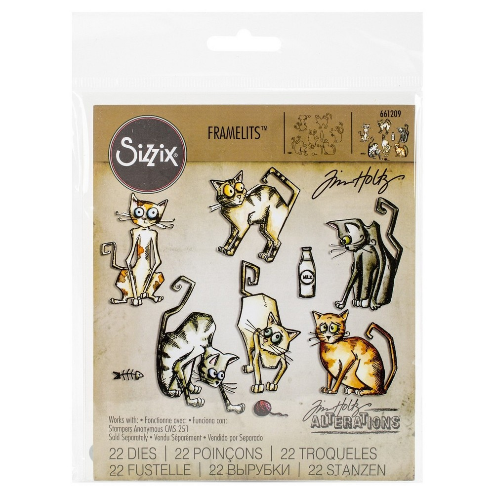 Image of Sizzix Framelits Dies By Tim Holtz Crazy Cats-Silver Asst Sizes, Gray