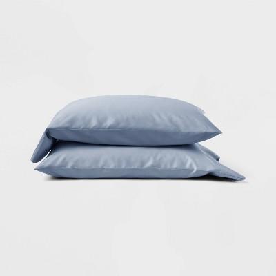Standard 300 Thread Count Temperature Regulating Solid Pillowcase Set Deep Sky Blue - Casaluna™