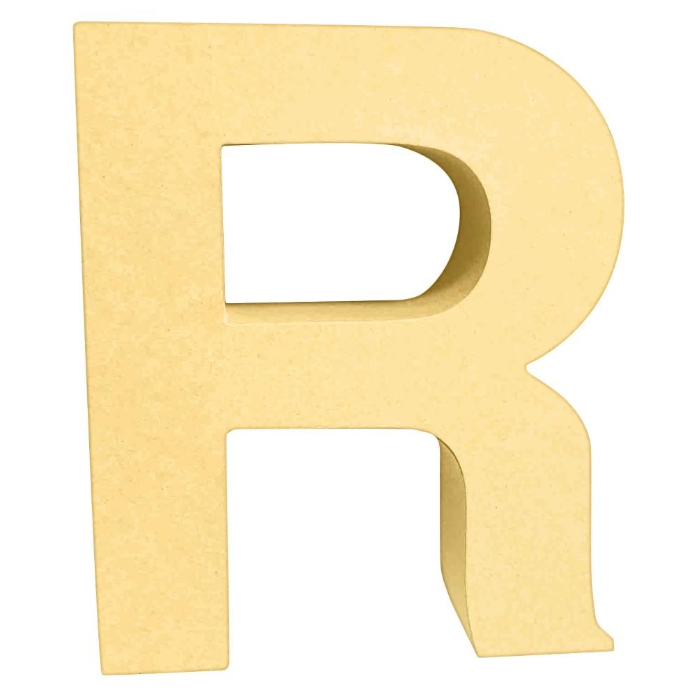 7 Paper Mache Letter R - Hand Made Modern, Brown