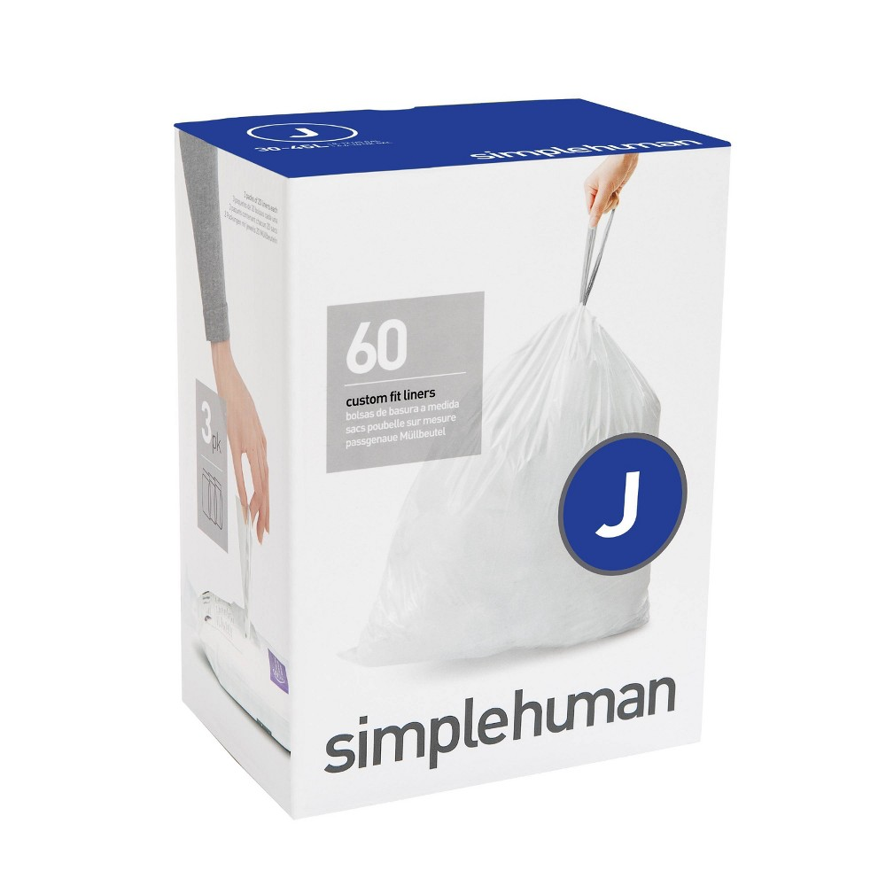 Image of simplehuman 30-45 ltr Code J Custom Fit 60ct Trash Can Liner
