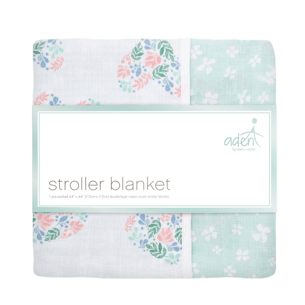 Image of aden by aden + anais Stroller Blanket - Briar Rose - Heart flower Pink