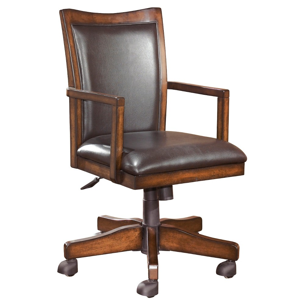 Hamlyn Home Office Swivel Desk Chair Medium Brown - Signature Design by Ashley