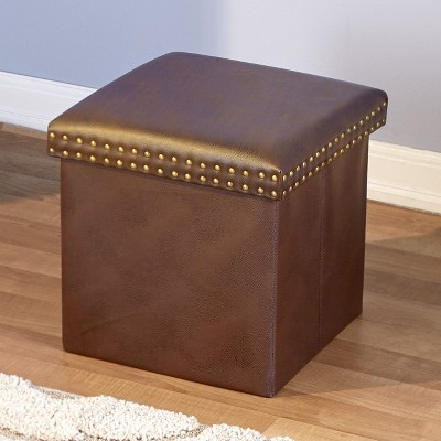 Lakeside Faux Leather Storage Ottoman Cube with Nail Head Trim Accents