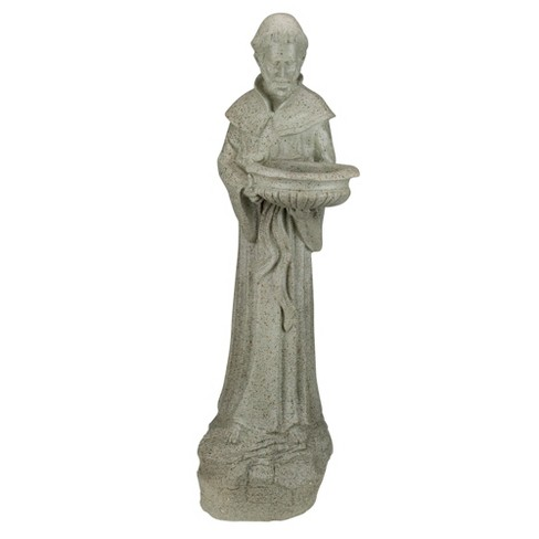 "Northlight 24"" Saint Francis of Assisi Speckled Religious Bird Feeder Outdoor Patio Garden Statue - Gray - image 1 of 3"