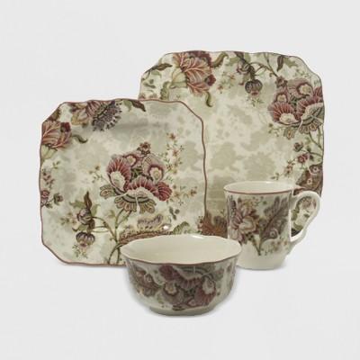 16pc Porcelain Gabrielle Dinnerware Set Beige - 222 Fifth