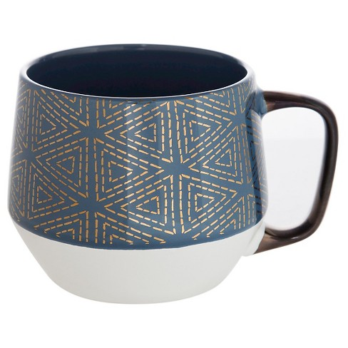 Threshold™ Tapered Base Mug 21oz Stoneware- Navy/ Gold Triangles - image 1 of 1