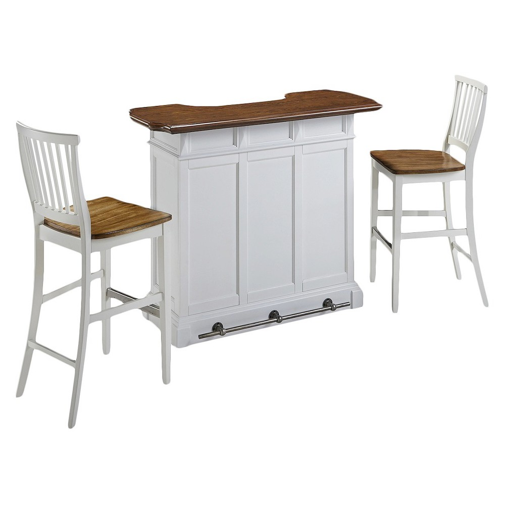 Americana Bar and Two Stools White - Home Styles 5002-998