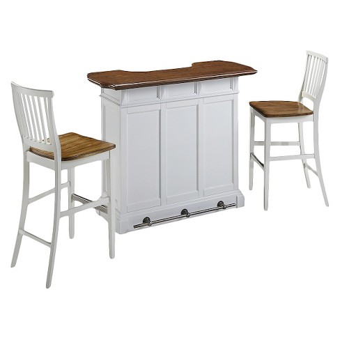 Americana Bar and Two Stools - White - image 1 of 3