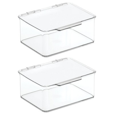 mDesign Stackable Plastic Craft, Sewing Storage Bin, Lid, 2 Pack - Clear