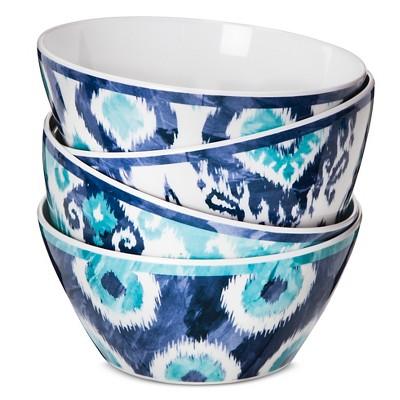 Boho Boutique Melamine Cereal Bowls 26oz - Ikat Blue - Set of 4