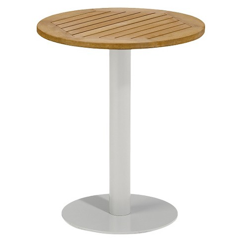 "Travira 24"" Metal/Faux Wood Patio Round Bistro Table - image 1 of 1"