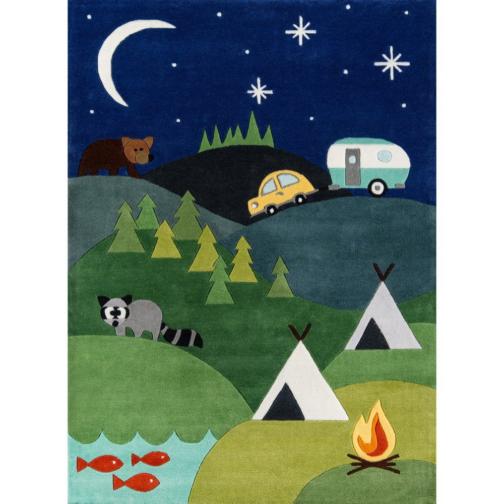 Camping Fun Area Rug Round Blue (5'x5')