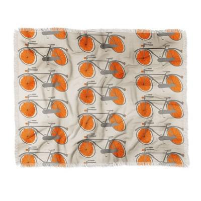 "60""X50"" Mummysam Bicycles Throw Blanket Orange - Deny Designs"