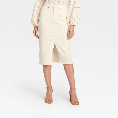 Women's High-Rise Denim Midi Skirt - A New Day™