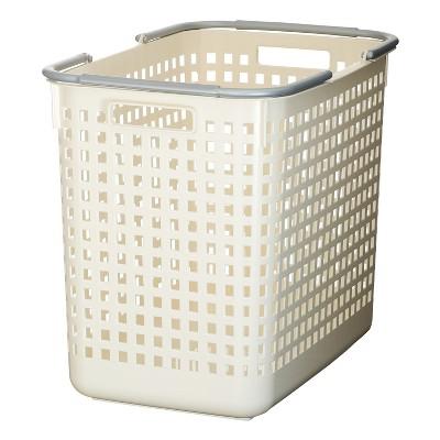 Like-it 12 x 19 x 15 Inch Large Midcentury Modern Scandinavian Style Square Durable Plastic Home Organizing Storage Basket, White