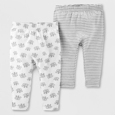 Little Planet Organic by carter's Baby Girls' 2pk Leggings - Gray/White 12M